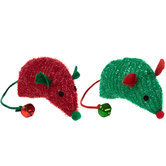 Green & Red Plush Mouse Cat Toys