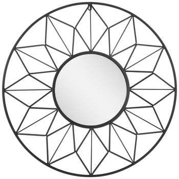 Geometric Wire Frame Metal Wall Mirror
