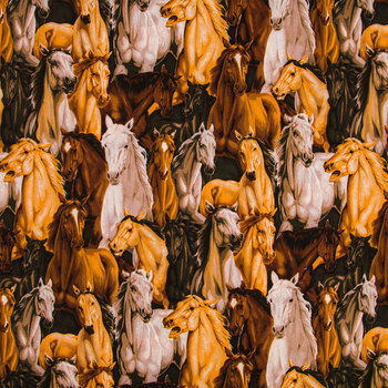 Allover Horses Cotton Calico Fabric