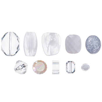 White & Clear Acrylic Bead Mix
