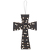 Black Wood Wall Cross Wrapped With Pearls