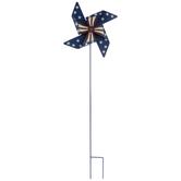 Blue Flag Pinwheel Metal Garden Stake