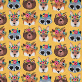 Woodland Animals With Flower Crowns Cotton Calico Fabric