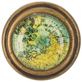 Antique Brass Metal Knob With Map