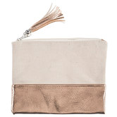 Rose Gold & Natural Canvas Zipper Pouch