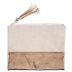 Rose Gold & Natural Canvas Zipper Pouch