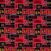 NHL Chicago Blackhawks Block Cotton Fabric