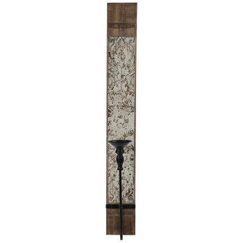 Brown & White Distressed Wood Wall Sconce