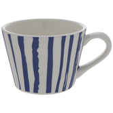 White & Blue Striped Mug