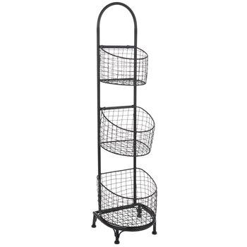 Black Three-Tiered Wire Basket