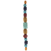 Blue & Red Geometric Wood Bead Strand