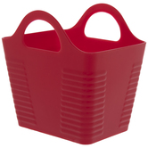 Red Rectangle Ribbed Container With Handles