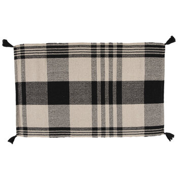 Black & White Tasseled Plaid Rug