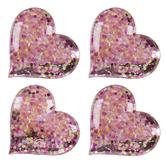 Pink & Gold Glitter Confetti Heart Adhesive Wall Art