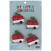 Red Camper Hauling Tree Ornaments