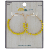 Yellow Beaded Hoop Earrings
