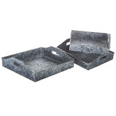 Square Galvanized Metal Tray Set