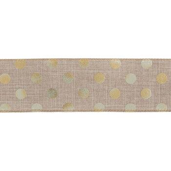 """Natural & Gold Polka Dot Wired Edge Ribbon - 2 1/2"""""""