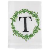Greenery Wreath Letter Cloth Napkin - T