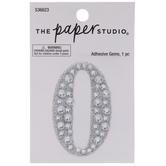 Silver Number Glitter & Rhinestones Sticker