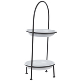 Black & White Two-Tiered Metal Tray