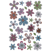 Metallic Flower Puffy Stickers
