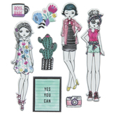 Pastel Floral Girls Puffy Stickers
