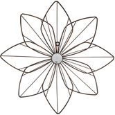 Distressed Gold Metal Flower Wall Decor - Large