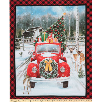 Red Christmas Truck Panel Cotton Fabric