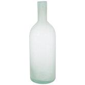 Green Frosted Bottle Glass Vase