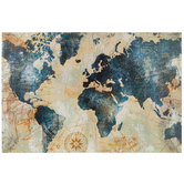 Blue & Gold World Map Canvas Wall Decor