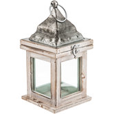 White Distressed Wood Lantern
