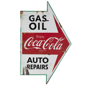 Gas, Coca-Cola & Auto Repairs Arrow Metal Sign