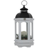 White Wood & Pine LED Lantern