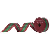 """Red & Green Glitter Striped Wired Edge Ribbon - 1 1/2"""""""
