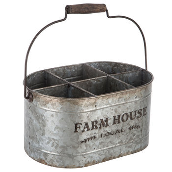 Farm House Divided Galvanized Metal Organizer