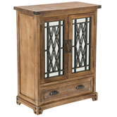Natural Mirrored Front Wood Cabinet