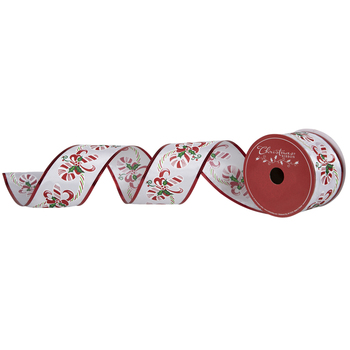 Green & Red Candy Cane Wire Edge Ribbon - 2 1/2""