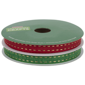 Red & Green Ribbon With Gold Stitched Edge - 3/8""