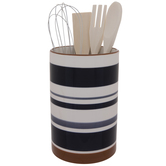 Striped Crock With Utensils