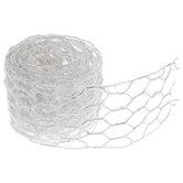"White Flocked Wired Netting Ribbon - 2 1/2"""