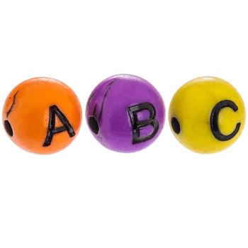 Multi-Color Round Alphabet Beads
