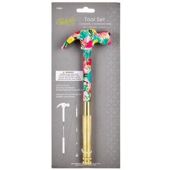 Pink Floral Hammer & Screwdrivers