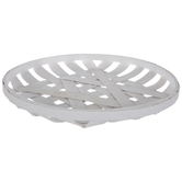 White Woven Round Wood Tray - Small