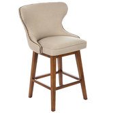 Ivory Tufted Back Bar Stool