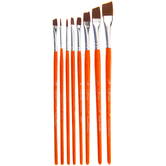 Brown Nylon Paint Brushes - 8 Piece Set