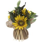 Yellow Sunflowers In Burlap Vase