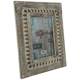 "Distressed White Beaded Wood Frame - 5"" x 7"""