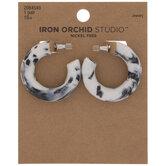 White & Black Marble Hoop Earrings