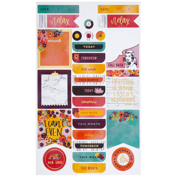 Floral Daily Tasks Foiled Stickers